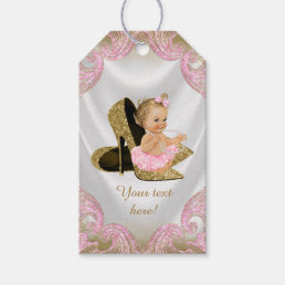 Pink Gold Shoe Baby Shower Gift Tags
