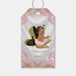 Pink Gold Shoe Ethnic Girl Baby Shower Gift Tags
