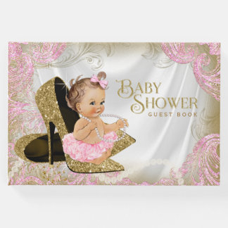 Pink Gold Shoe Girl Baby Shower Guest Book