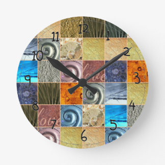 Pink Gold Silver Bronze Metal Love Mosaic Round Clock