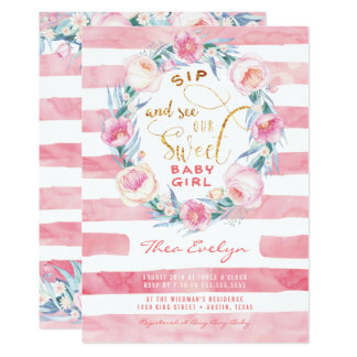 Pink & Gold Sip and See Baby Shower Invitations