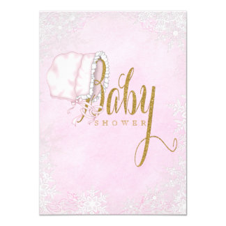 Pink Gold Snowflake Baby Girl Shower Card