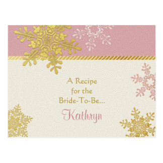 Pink Gold Snowflake Recipe Card for the Bride Postcard
