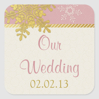 Pink Gold Snowflake Winter Wedding Stickers
