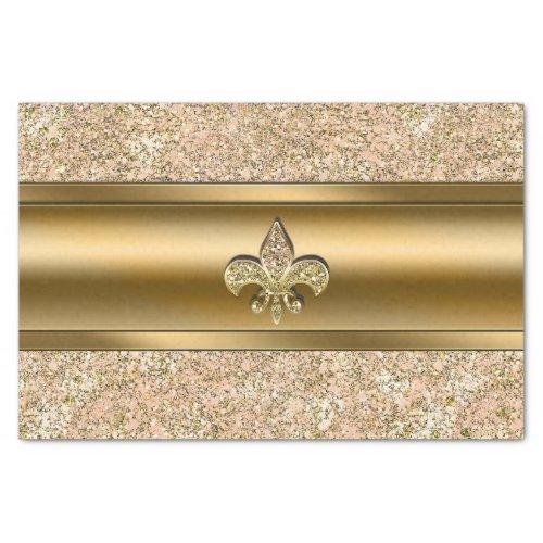 Pink & Gold Sparkle Glittery Fleur de lis Party Tissue Paper