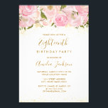 """Pink Gold Sparkle Rose 18th Birthday Invitation<br><div class=""""desc"""">More elegant floral Invitations in the Little Bayleigh Store! we have used images from www.createthecut.com</div>"""