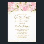 "Pink Gold Sparkle Rose 21st Birthday Invitation<br><div class=""desc"">More elegant floral Invitations in the Little Bayleigh Store! we have used images from www.createthecut.com</div>"