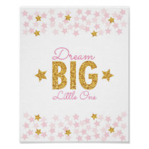 Pink & Gold Star Dream Big Poster
