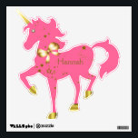 """Pink &amp; Gold Star Light Custom Unicorn Wall Decal<br><div class=""""desc"""">Pretty custom wall decal of a pink prancing unicorn. Graphics of gold tone horn and hoofs, bow and scattered stars of gold decorate the unicorn. A sweet gold tone and white pearl like button is used as it&#39;s eye. Golden brown text is ready to personalize for your girl&#39;s or baby&#39;s...</div>"""