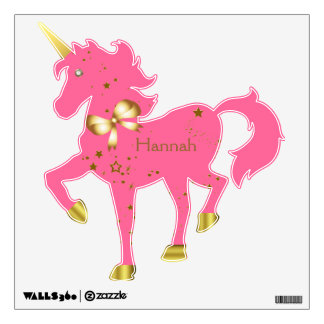 Pink & Gold Star Light Custom Unicorn Wall Decal