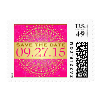 Pink, Gold Stars, Scrolls, Dots Save Date Postage