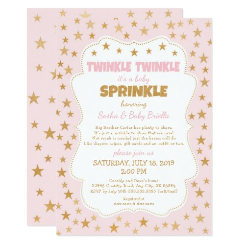 Pink Gold Stars Twinkle Baby Sprinkle 3745 Invitation