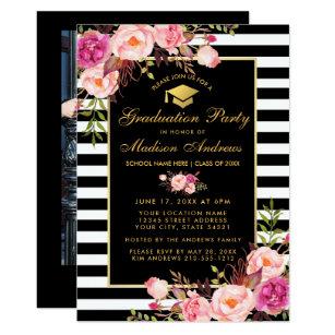 Pink black graduation invitations zazzle pink gold striped graduation invite photo back filmwisefo
