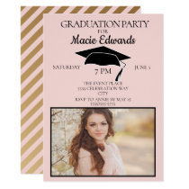Pink Gold Striped Graduation Photo Party Invite