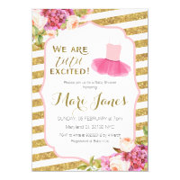 pink gold striped tutu baby shower invitation