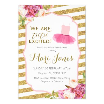 Ballet TuTu Excited Baby Girl Shower Invitation | Zazzle