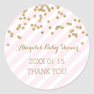 Pink Gold Stripes Baby Shower Favor Sticker