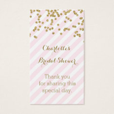 Pink Gold Stripes Bridal Shower Favor Tags at Zazzle