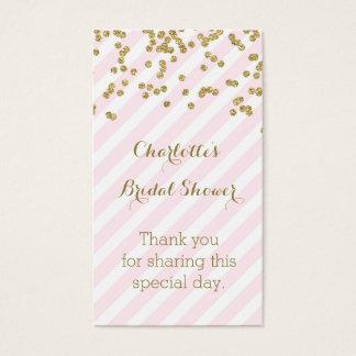 Pink Gold Stripes Bridal Shower Favor Tags