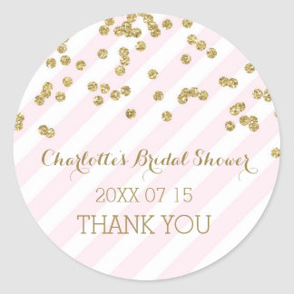 Pink Gold Stripes Bridal Shower Favor Tags Classic Round Sticker