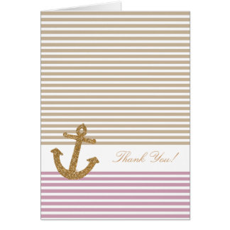 Pink Gold Stripes Glitter Anchor thank you Stationery Note Card