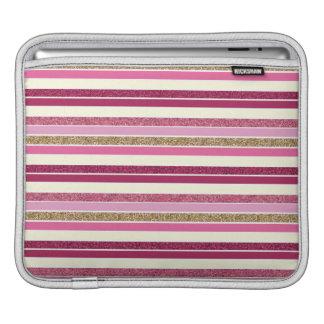 Pink & Gold Stripes iPad Sleeve