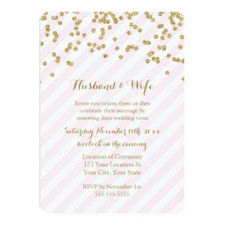 Pink Gold Stripes Wedding Vow Renewal Invitation