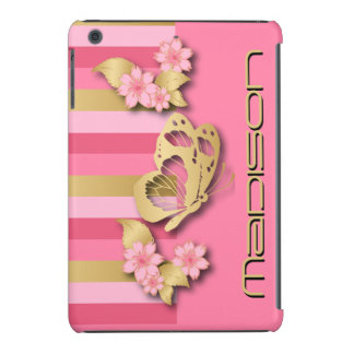Pink & Gold Stripes with Butterfly and Flowers iPad Mini Covers