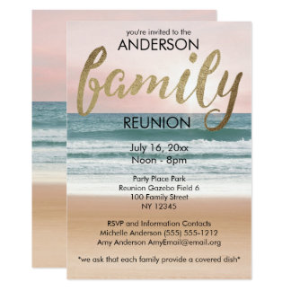 Pink Gold Sunset Beach Family Reunion Card