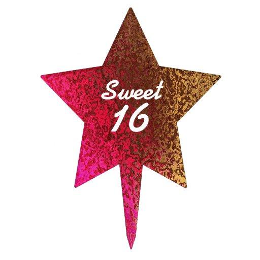 Pink & Gold Sweet 16 Birthday Cake Topper
