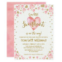 Pink Gold Sweetheart Baby Shower Invitation Hearts