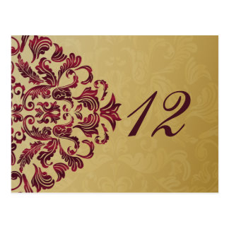 pink gold table numbers postcards