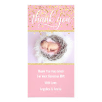 Pink Gold THANK YOU Baby Shower Girl | PHOTO Card