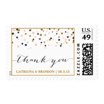Pink & Gold Thank You Confetti Dots Stamp