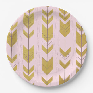 Pink Gold Tribal Arrows Paper Plates