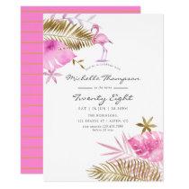 Pink & Gold Tropical Flamingo Any Age Birthday Invitation