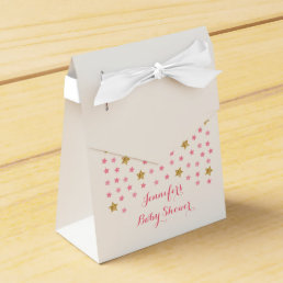 Pink & Gold Twinkle Star Baby Shower Favor Box