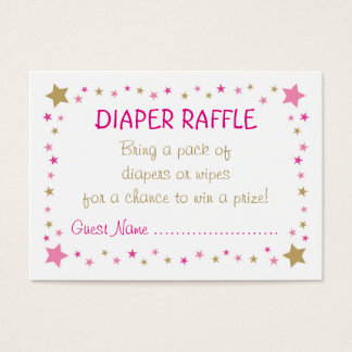 Pink Gold Twinkle Star Diaper Raffle Tickets