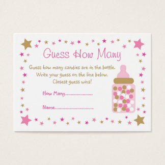 Pink Gold Twinkle Star Guess How Many Cards