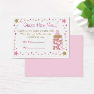 Pink & Gold Twinkle Star Guess How Many Game Business Card