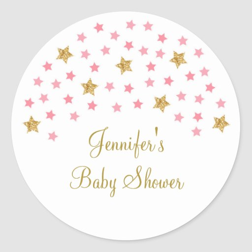 Pink & Gold Twinkle Star Party Favor Classic Round Sticker