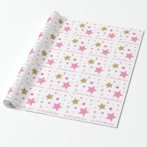 Pink Gold Twinkle Star Personalized Wrapping Paper