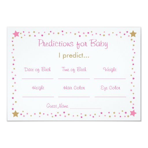 Pink Gold Twinkle Star Predictions For Baby Cards