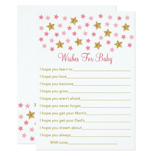Pink & Gold Twinkle Star Wishes For Baby Card