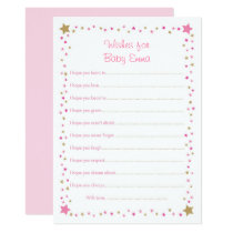 Pink Gold Twinkle Star Wishes for Baby Cards