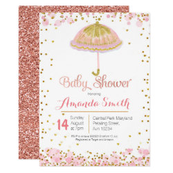 Pink Gold umbrella baby shower invitation