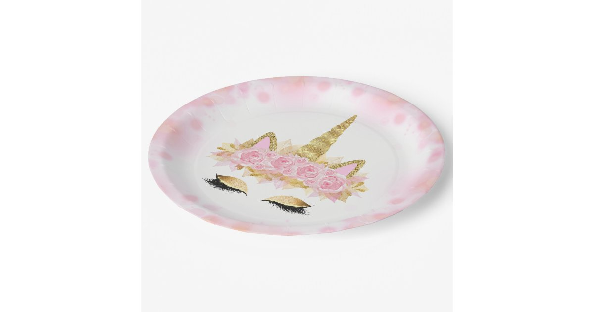 pink gold unicorn face paper plates. Black Bedroom Furniture Sets. Home Design Ideas