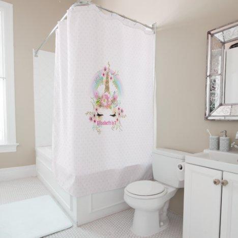 Pink Gold UNICORN Rainbow Flowers Girls NAMED Gift Shower Curtain