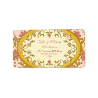 Pink Gold Vintage Victorian Wedding Return Address Label