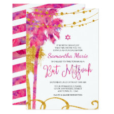 Pink Gold Watercolor Beach Bat Mitzvah Invitations